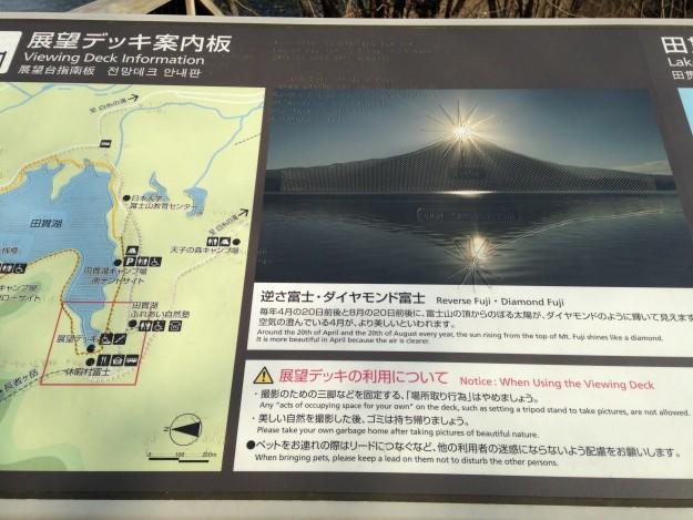 休暇村富士のデッキには、ダイヤモンド富士の説明があります。