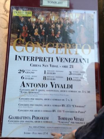 ベニスでのビヴァルディのコンサートのチラシ。