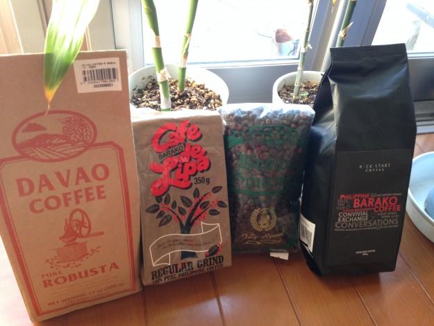 フィリピンのコーヒー豆、勢揃い。