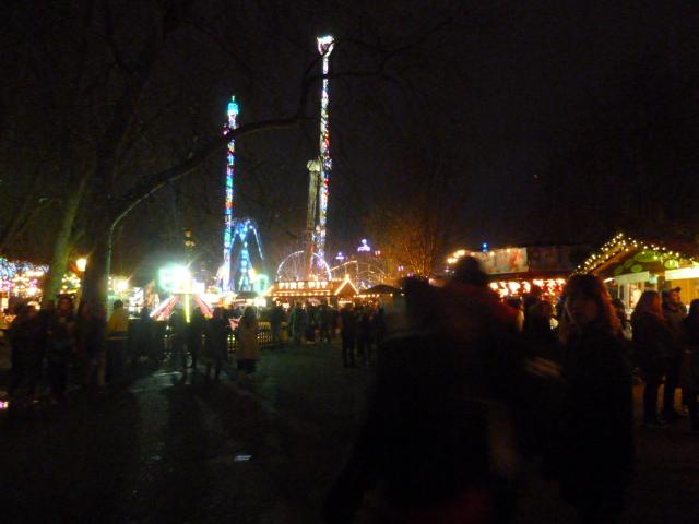 後ろ側には遊園地が続いています。寒いですが、遊園地で遊ぶ若者や子供たちは寒さなんてなんのその!